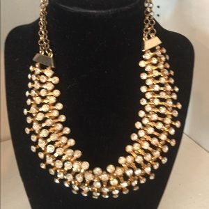 Black and clear crystal gold necklace & earrings